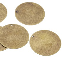 20pcs 34x0.3mm Antique Bronze Metal Tags, Brass Blank Stamping Tag Pendants for Jewelry Making DIY Findings, Flat Round