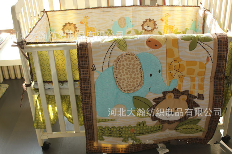 Promotion! 7PCS Lion baby crib bumper sets embroidered cartoon baby bedding sets (bumper+duvet+bed cover+bed skirt)
