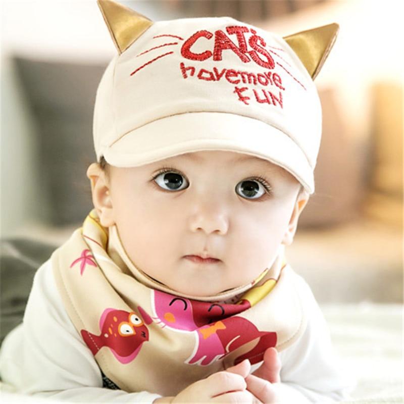 Autumn Baby Girl Boy Hats Cute Little Cat Hat Bib Sets Letter Print Baseball Cap With Ear Cartoon Triangle Towel Infant Costume Boys Hats Little Boys Hatsbaby Girls Boys Aliexpress