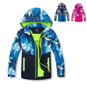 Камуфляжная куртка для мальчиков и девочек, пальто-кардиган с флисовой подкладкой, ветровка со съемным капюшоном, куртка-бомбер синего и ро...