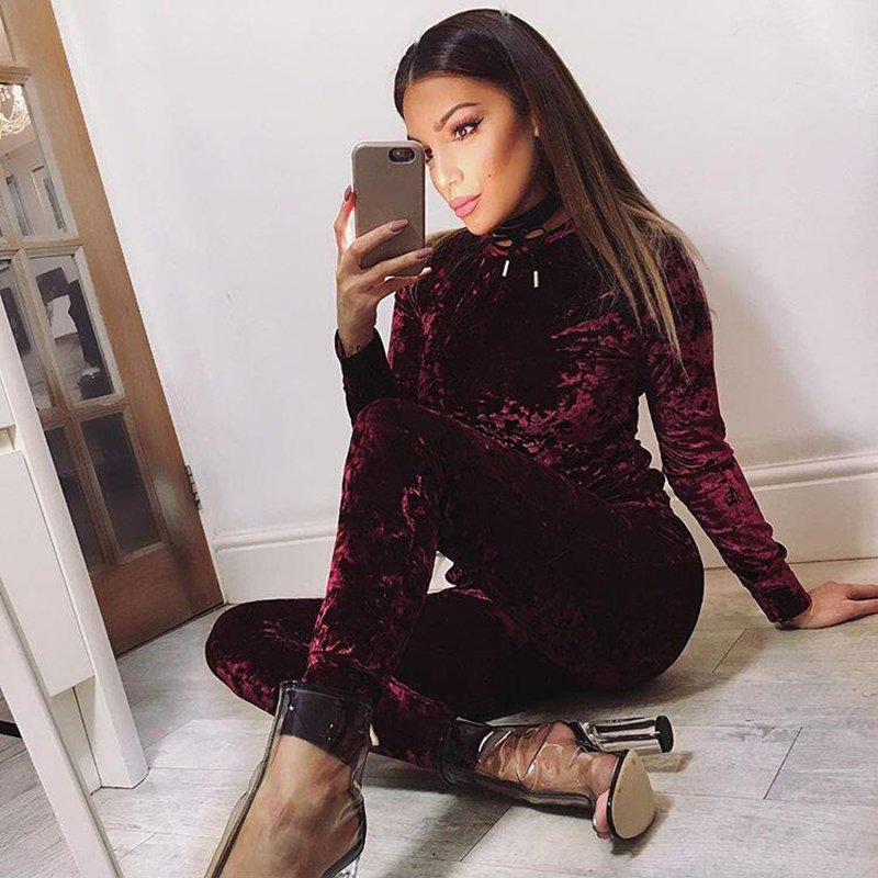 Women Crushed Long Sleeve Soft Solid Color Velvet Suit Sweatshirt Pant  Tracksuit Wear-in Women s Sets from Women s Clothing on Aliexpress.com  6f40ffe4a8