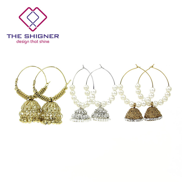 The Shigner Traditional Indian Gold Silver Pearl Beads Bali Hoop Jhumki Jhumka Earrings Bollywood Style Ring Earring Jewelry