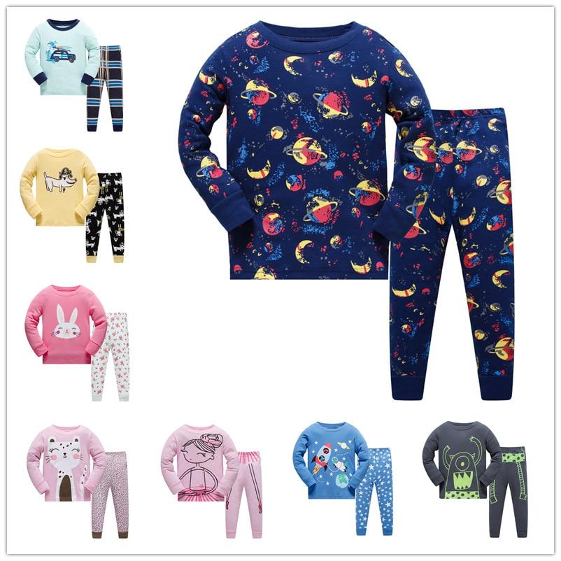 8R TB 6sets lot Children boys girls pajamas sets long sleeve sleepwear suit for 3 8Y