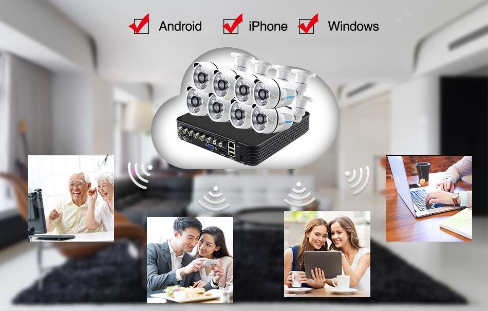 Smar 8CH 1080N AHD DVR Kit 8PCS HD 1.0MP2.0MP Real Time Outdoor Security Cameras Video DVR Kits CCTV Surveillance System (8)