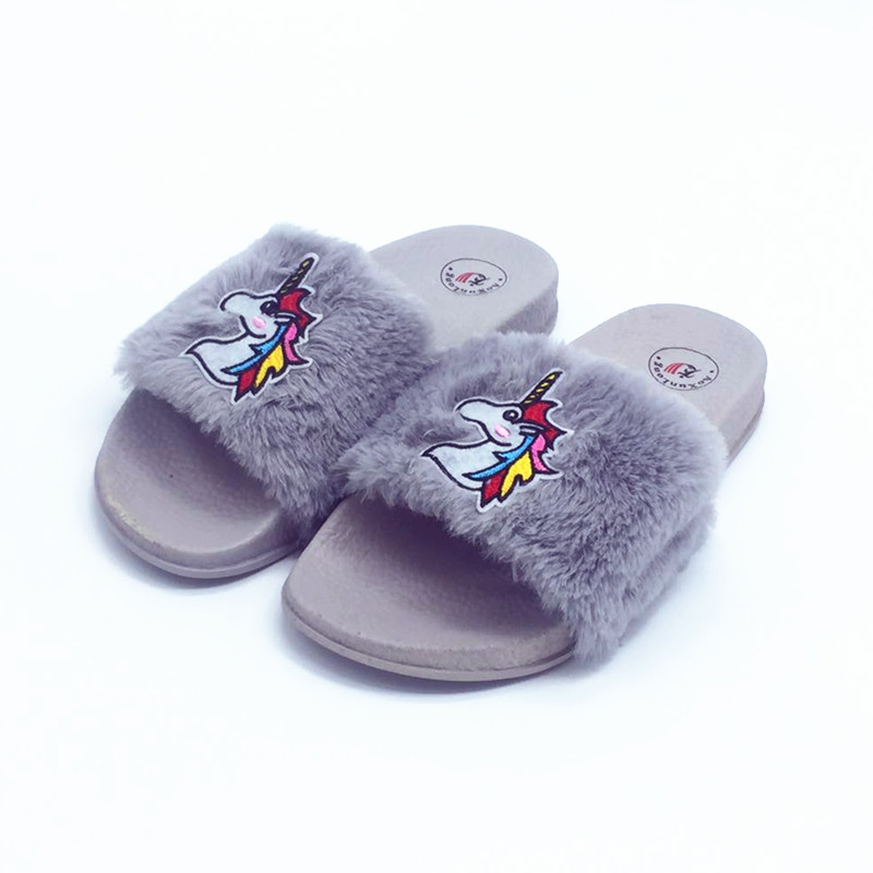 e9539a8f6 AoXunLong Women 's furry Lovely Unicorn Slippers Winter Warm Home Slippers  Pink Black Fur Slippers Women Unicornio EU 36 41 Hot-in Slippers from Shoes  on ...