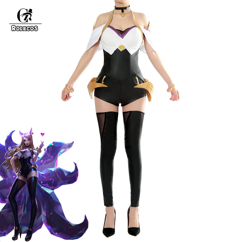 Jeu de ROLECOS LOL Cosplay Costumes groupe K/DA Ahri leader vocal Sexy robe Costumes groupe KDA Ahri pour les femmes Cosplay Costumes