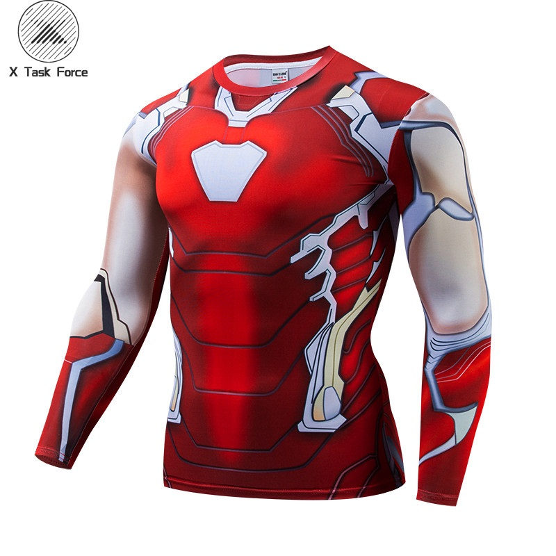 Avengers 4 Iron Man MK85 3D Printed T Shirts Men Compression Shirts Raglan Sleeve 2019 Long Sleeve Cosplay Costume Tops Male 6XL