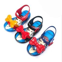 Mini Melissa 2019 New Princess Jelly Shoes Girls Sandals Bow Dance Shoes Cartoon Candy Color Sandals Melissa Shoes