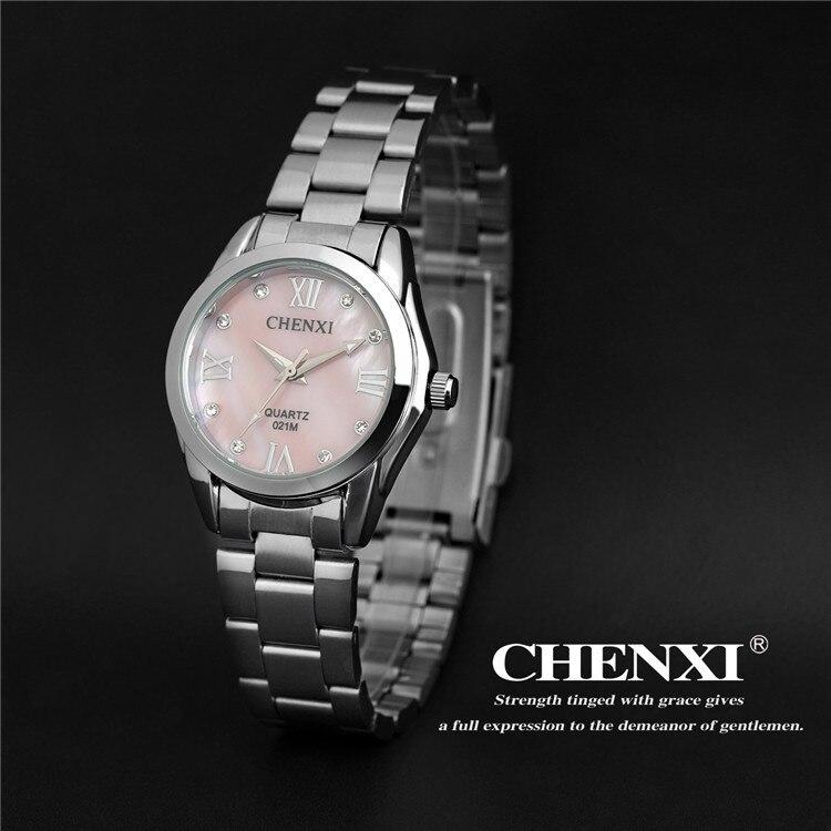 2018 CHENXI Fashion Women Colorful Dial Reloj Mujer Concise Girl WristWatches Female Quartz Ladies Full Steel Clocks Watch 021M
