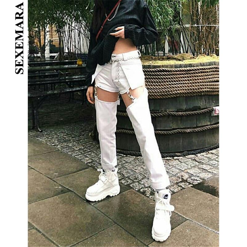 BOOFEENAA Metal Buckle Cut Out High Waist Straight   Jeans   Pants Woman Streetwear Black White Denim Sexy Pants Women C87-AI46