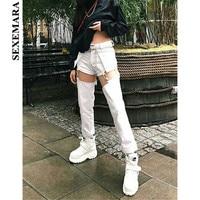 BOOFEENAA Metal Buckle Cut Out High Waist Straight Jeans Pants Woman Streetwear Black White Denim Sexy Pants Women C87 AI46