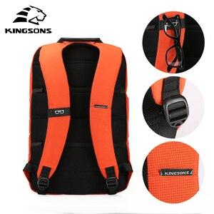 Image 4 - Mochilas de mujer Kingsons, diseño de patente, Mochila de 15 , bolso de escuela, bolsas de nailon de alta calidad Unisex, Mochila de viaje