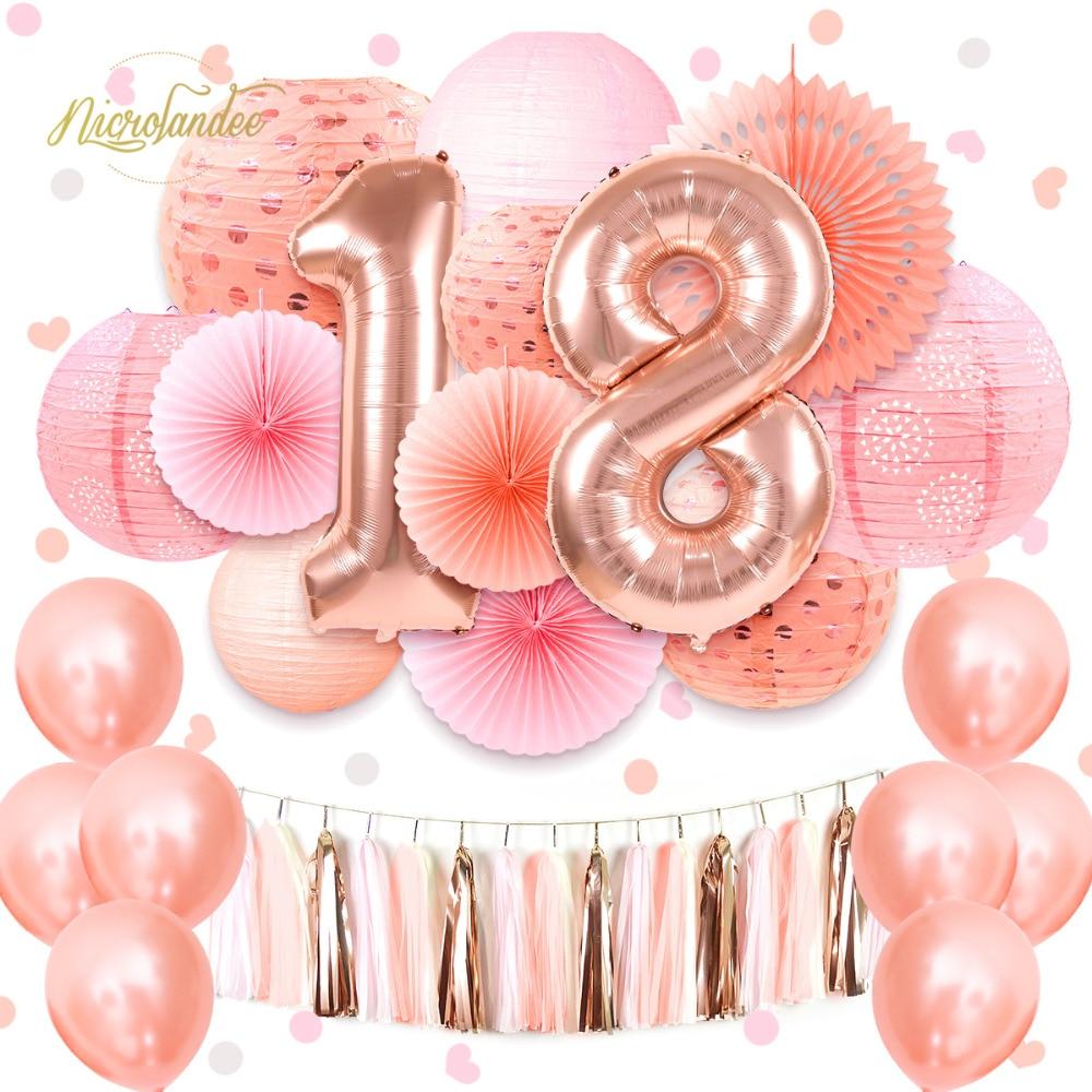 NICROLANDEE 37 pçs/set 2019 Nova Doce Feliz 16 18 21th Birthday Party Decorationweet Balões Ouro Rosa Cor De Rosa DIY Home Decor