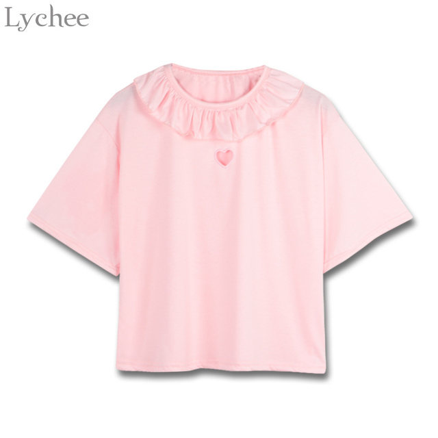 Lychee Sweet Summer Women T Shirt Heart Hollow Out Ruffle Casual Loose Solid Short Sleeve T Shirt Tee Top Female by Lychee