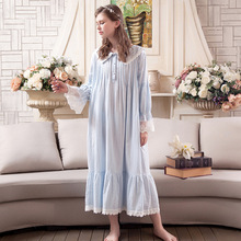 Vintage Sweet Princess Long Nightgowns Cotton Lace Women Long-Sleeved Sleepwear Casual Elegant Sleeping Dresses BL1702 цена