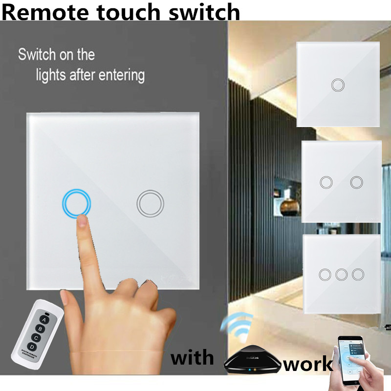 EU/UK Standard Wall Touch Switch, 1/2/3 Gang 1 Way White Glass Panel Light Wireless Remote Control Switch for RF433 Smart Home funry uk standard 1 gang 1 way smart wall switch crystal glass panel touch switch ac 110 250v 1000w for light