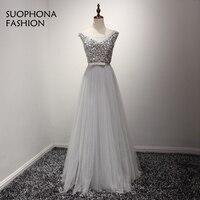 Vestido De Festa Evening Dress Robe De Soiree O Neck Long Tulle Formal Dress To Party