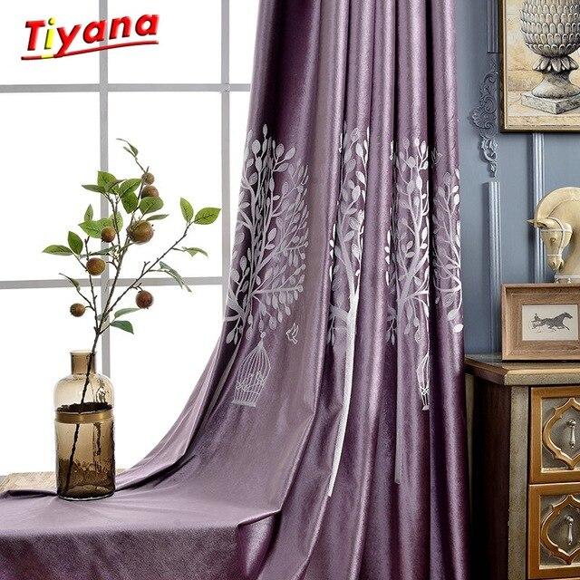 Ungu Gorden Blackout Malam Tirai Putih Bordir Tipis Tirai Tulle