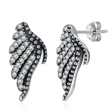GOMAYA Authentic 100% 925 Sterling Silver Majestic Feather Phoenix-Wing Stud Earrings with White Clear CZ for Women Fine Jewelry