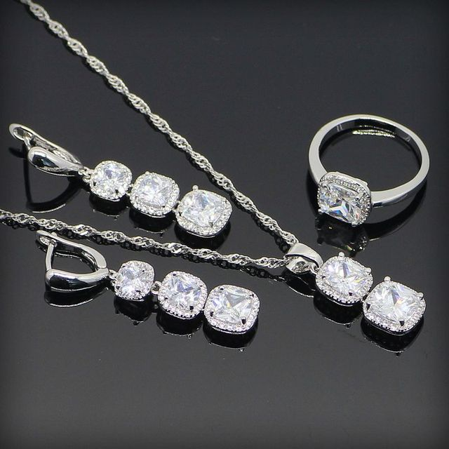 New Style Pure White Created Topaz 925 Sterling Silver Jewelry Sets For Women Necklace Pendant Rings Earrings Free Gift Box