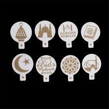 8 pçs/set Spray Stencil Modelo de Impressão Café Branco Plástico Eid Ramadan Mubarak Fondant Bolo Decoração Ferramentas Biscoitos