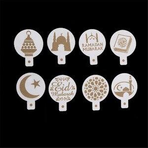 Image 1 - 8ピース/セットコーヒー印刷テンプレートスプレーステンシル白プラスチックイードムバラクラマダンフォンダンケーキビスケット装飾ツール