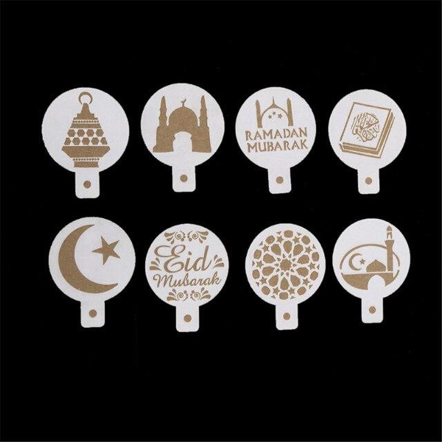8ピース/セットコーヒー印刷テンプレートスプレーステンシル白プラスチックイードムバラクラマダンフォンダンケーキビスケット装飾ツール