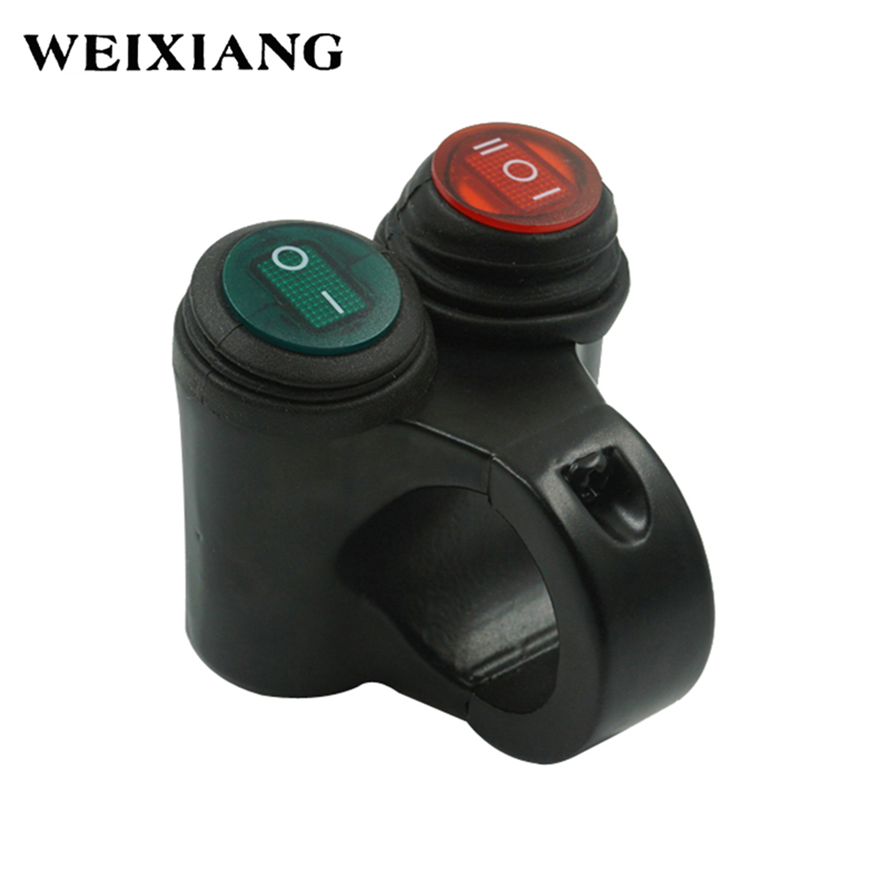 цена Motorcycle ATV Handlebar Double Control Button Switch Headlight Hazard Brake Fog Light ON OFF Switches With Indicator Light