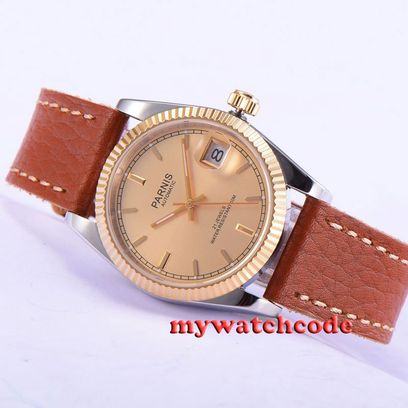 36mm Parnis rose golden dial Sapphire glass Miyota automatic mens watch P534 38mm parnis golden dial sapphire glass miyota automatic mens watch