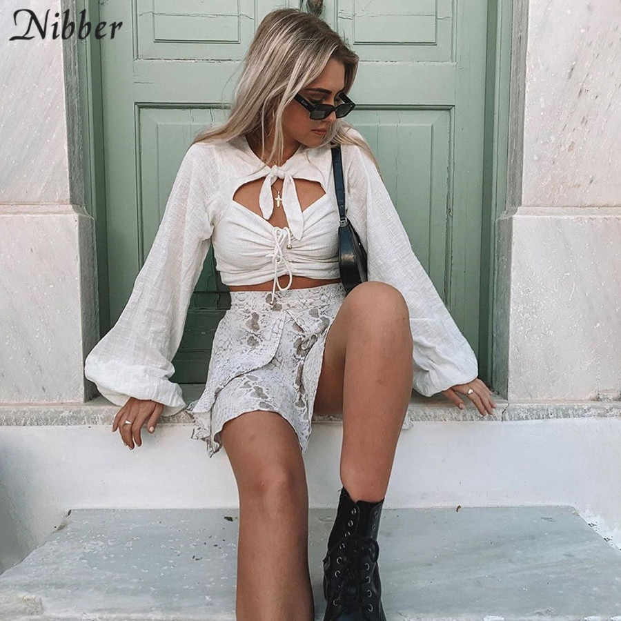 Nibber autumn newoffice ladies crop tops women hollow bow  Elegant t-shirts fashion party white casual top Thin tee shirts mujer