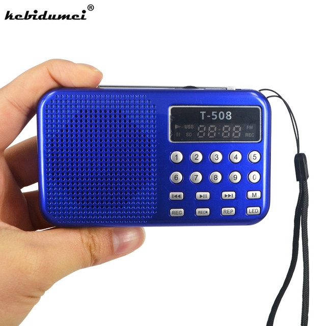 Kebidueimini 듀얼 밴드 충전식 디지털 LED 디스플레이 패널 스테레오 FM 라디오 스피커 USB TF mirco SD 카드 MP3 음악 플레이어