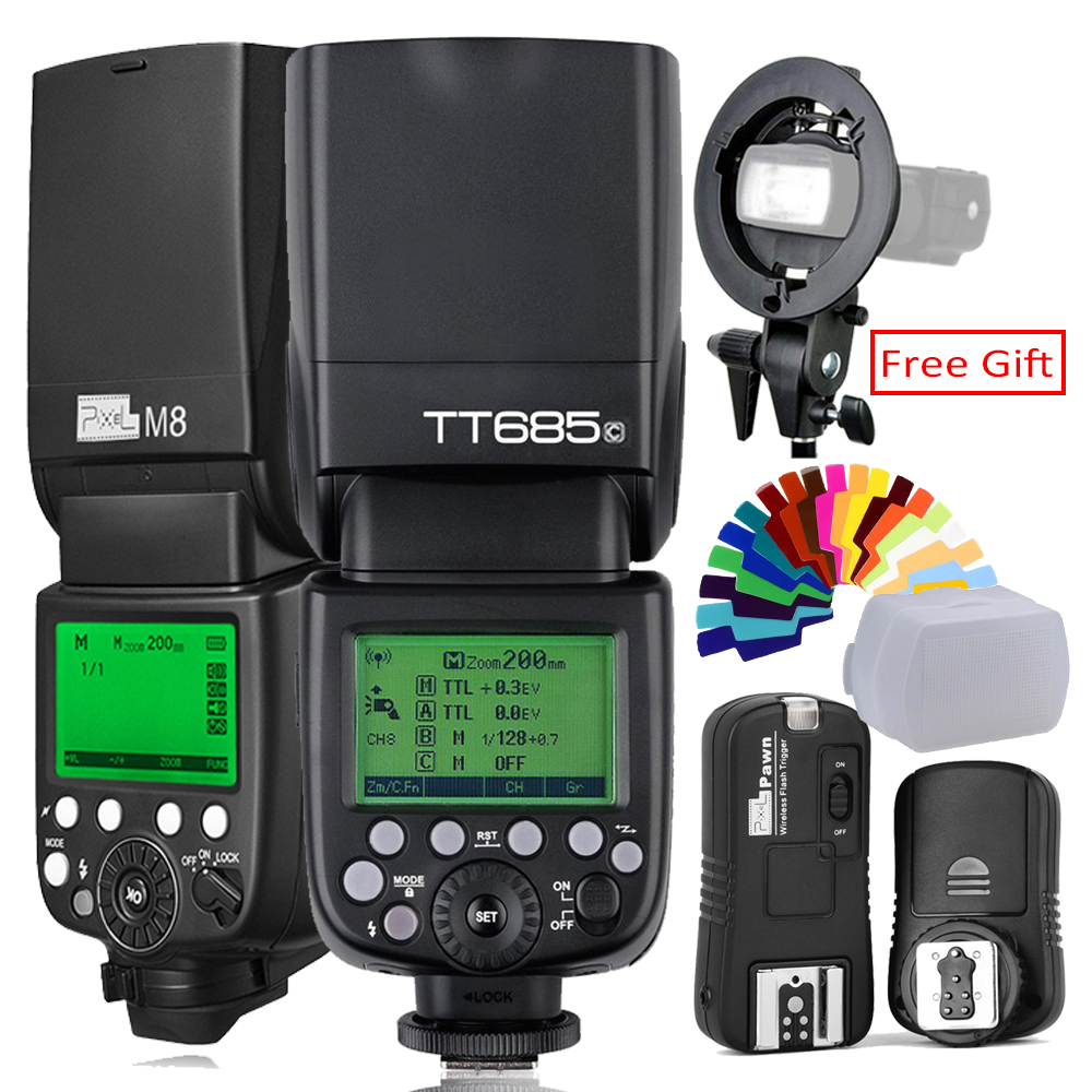 Pixel M8 2 4G Wireles Flash S Type Light Bracket OR Godox TT685C Flash TTL HSS Camera Flash speedlite X1T C Trigger For Canon in Flashes from Consumer Electronics