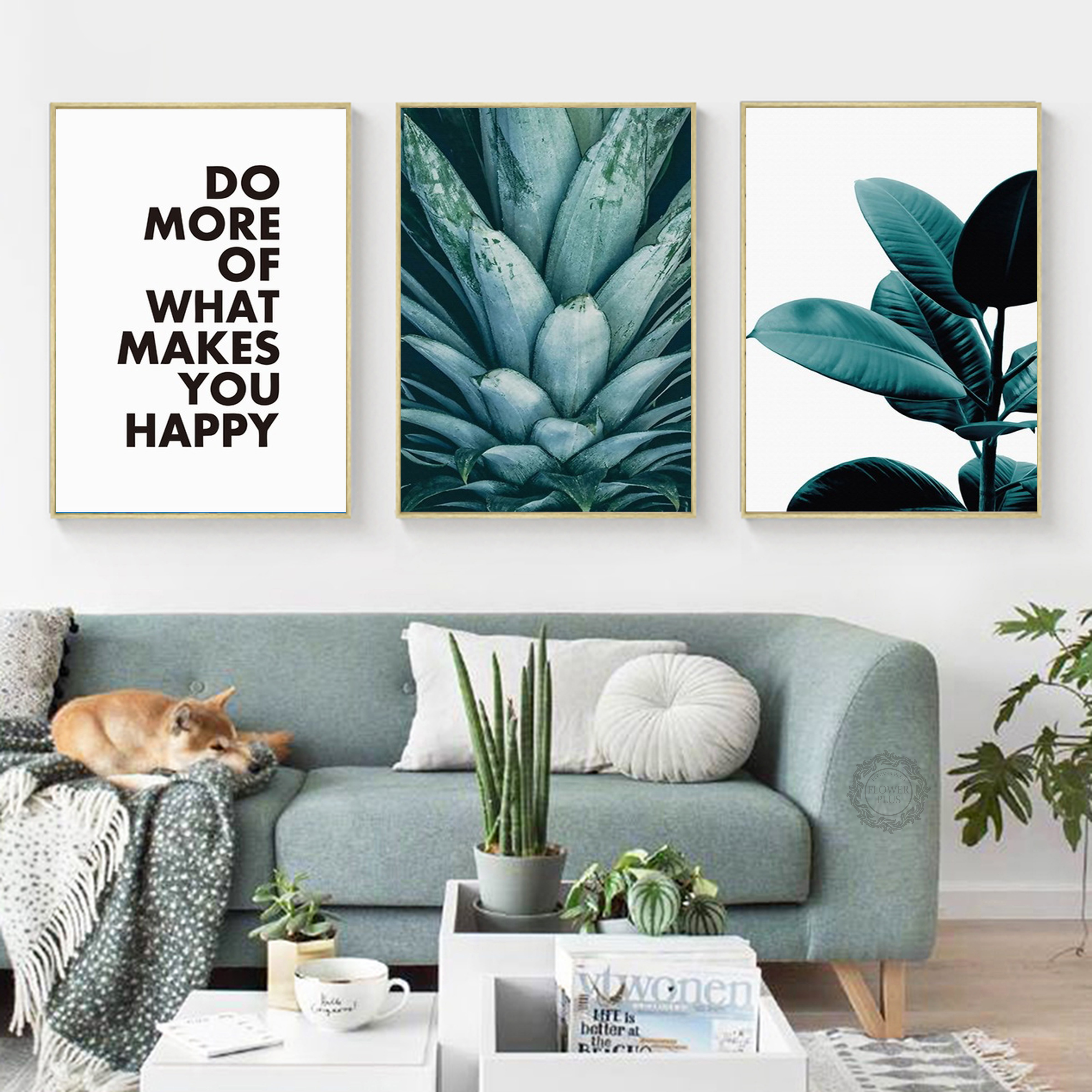 Modern Abstract Plant Phrases A4 A3 A2 Canvas Art Painting Print Poster Picture Wall Living Room Home Decoration Murals Gift in Painting Calligraphy from Home Garden