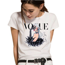 Showtly  2019 New Fashion Womens Tee Tops VOGUE Print Vacation essential Casual Cotton O Neck Short Sleeve