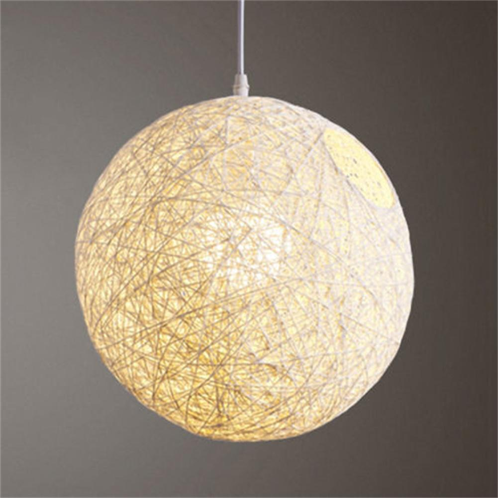 Round Concise Hand-woven Rattan Vine Ball Pendant Lampshade Light Lamp Shades Light Accessories(15cm Diameter)
