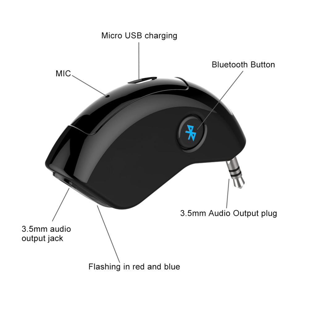 Mini Bluetooth Car Kit Bluetooth Receiver Hands-free 3.5mm AUX Output Adapter For Music Mobile Phones