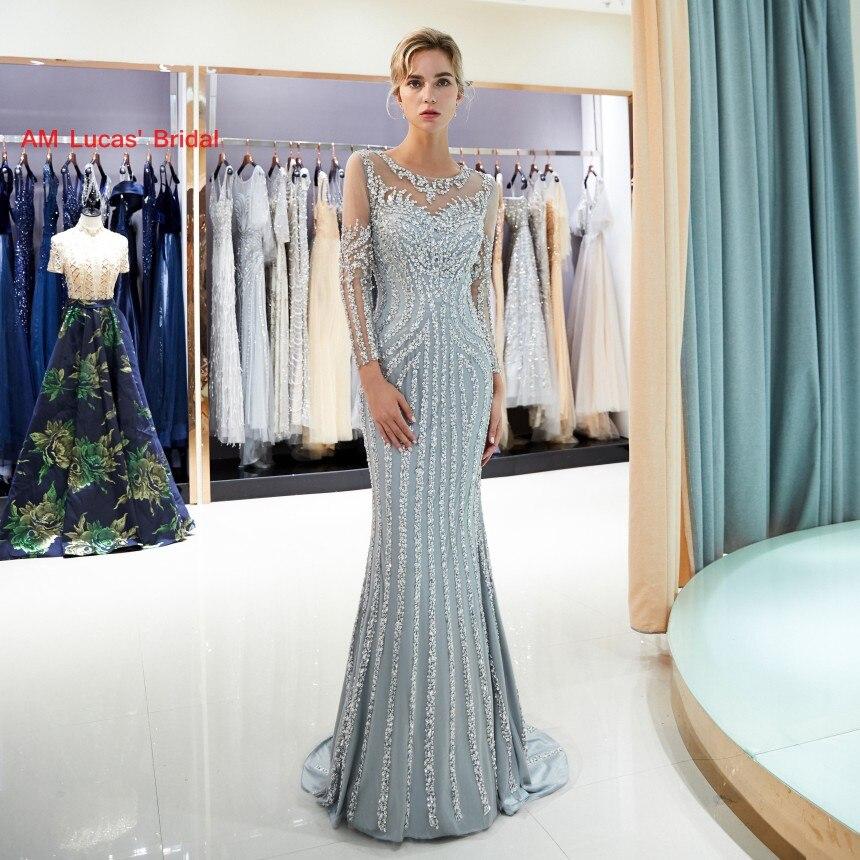 Новый Русалка вечернее платье одежда с длинным рукавом 2019 Новый Для женщин вечерние платья для выпускного вечера нарядные платья для свадь...
