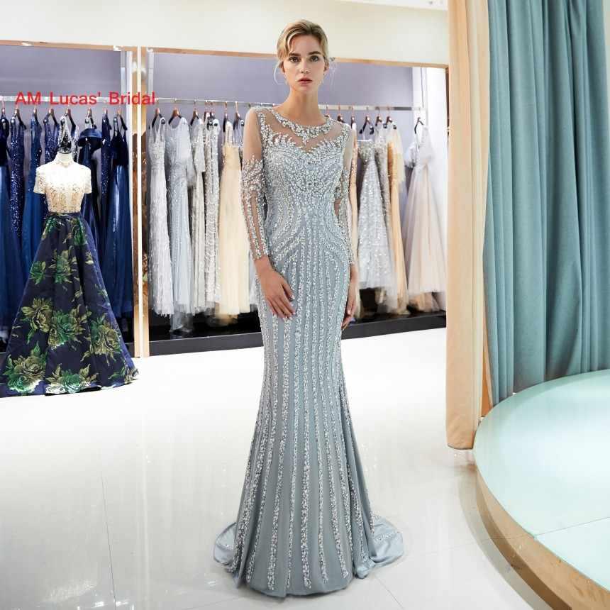 d00b686b8af Новый Русалка вечернее платье одежда с длинным рукавом 2019 Новый Для  женщин вечерние платья для выпускного