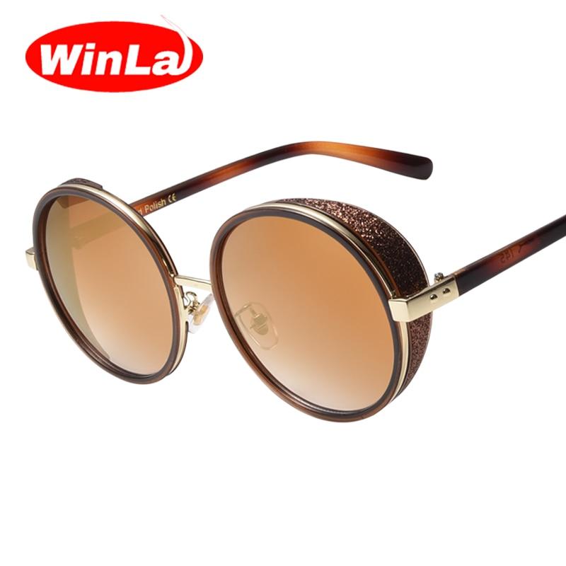 Winla Retro Women Steampunk Sunglasses Coating Mirror Round Circle Lens Women Sunglasses Goggles Steampunk Metal Glasses