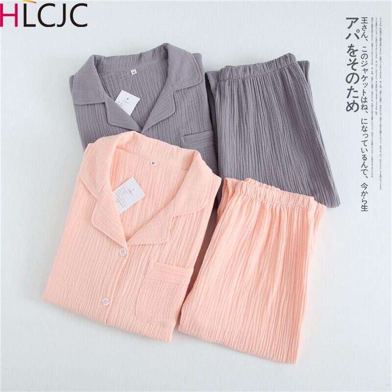 Solid Breathable Lovers 100% Cotton Crepe Pajamas Sets Women Men Autumn Long Sleeve Fresh Soft Pijama Mujer Casual Pyjamas