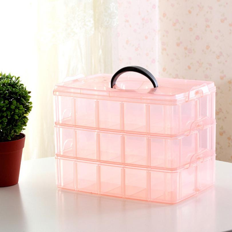 storage box Small Portable Three-layer Detachable Plastic Storage Box Jewelry Bead Storage Box Container Case Craft Tool Apr9