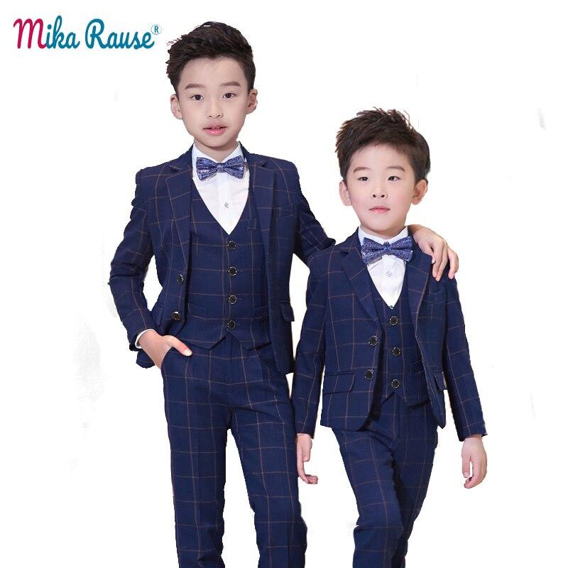 High Quality kids boys suit plaid blazer 5PCS kids wedding suits boys