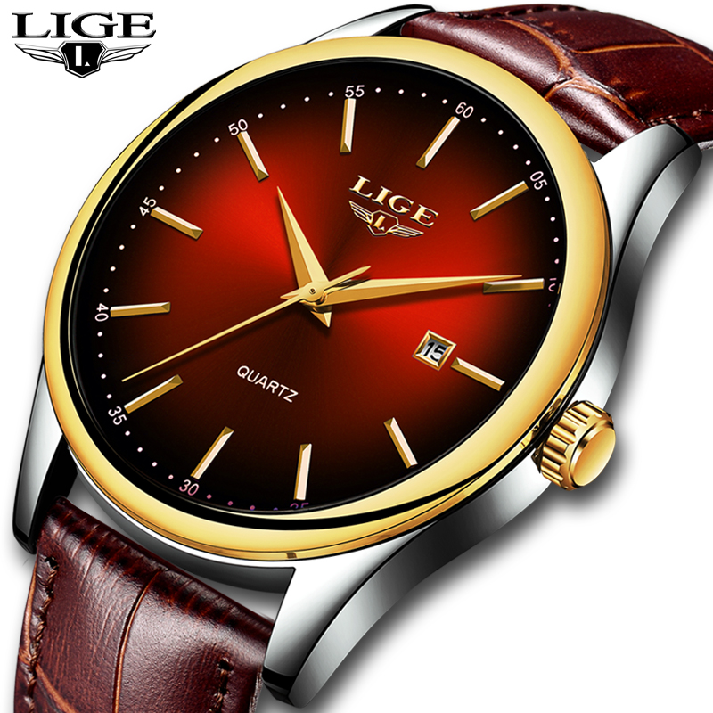 Mens Watches 2019 Top Brand <font><b>LIGE</b></font> New Luxury Simple Calendar Clock fashion Waterproof Leather Quartz Wristwatch Relogio Masculino image