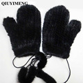 Real Fur Gloves Winter Womens Real Mink Fur Mittens Females Black/Brown New Glove Guantes Mujer Fashion knitted Gloves Solid