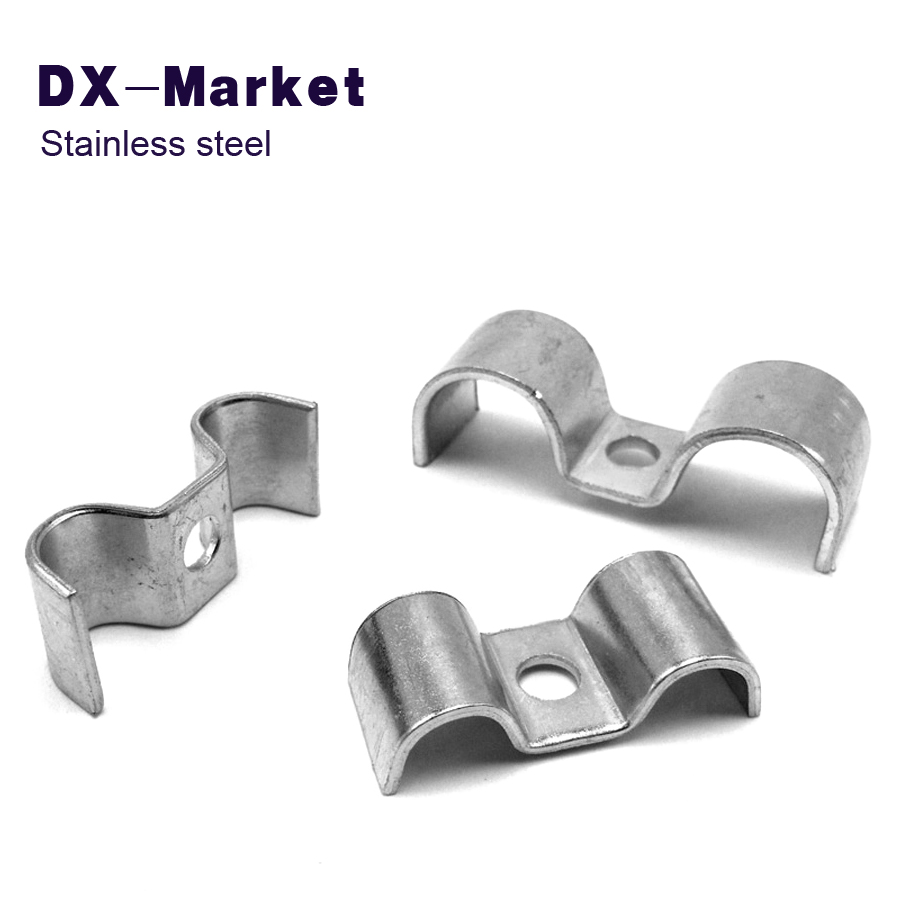 6mm-16mm , stainless steel Double tube fixing clamp , M Type clamp cable clips , double clip clamps 35mm 110mm 304 stainless steel saddle clamp antirust cable clip water pipe fixing bracket clamp