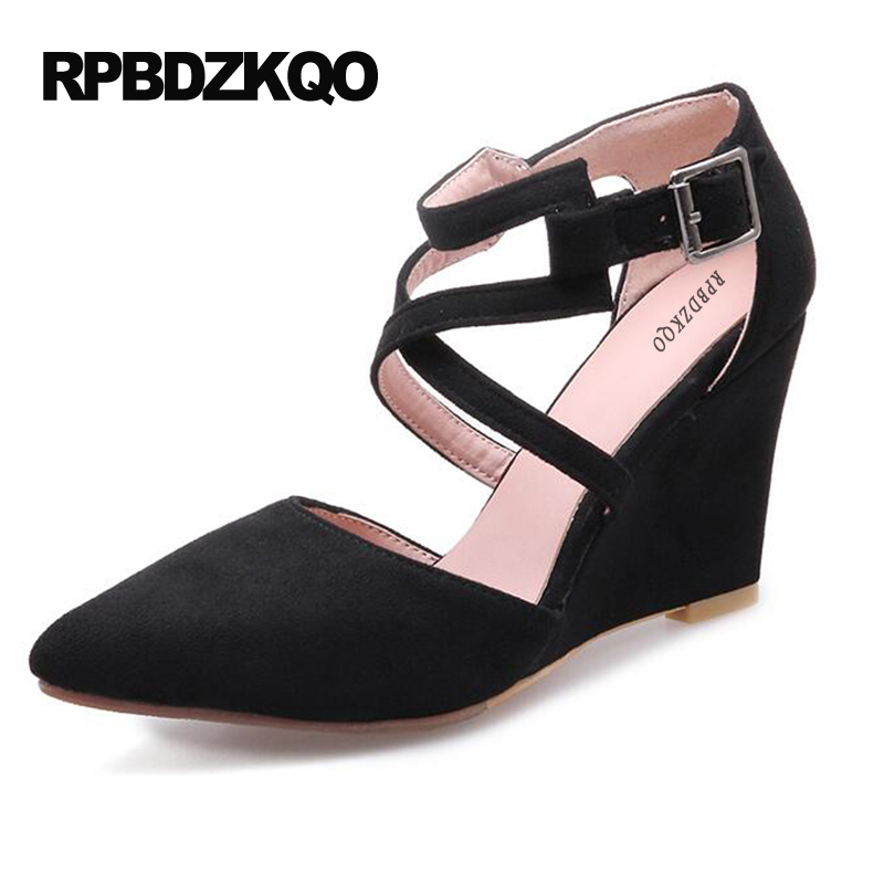 Thin Strap Heels Wedge Small Size Ankle 4 34 Women Shoes 2017 Cross Pointed Toe 11 43 Plus Black High Suede Pumps Prom Footwear sandals casual peep toe fashion ankle strap wedge high heels pumps platform fish mouth size 4 34 small shoes suede women black