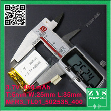 502535 three.7V 400mah Lithium polymer Battery with Safety Board For PDA Pill PCs Digital Merchandise 5x25x35mm 400 mah