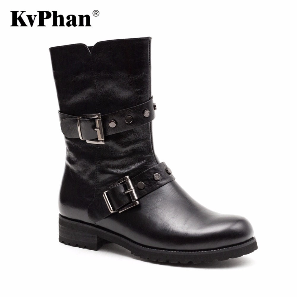 KvPhan New 2017 Genuine Leather suede Ladies Shoes Woman Ankle Boots Round Toe square Casual heel zip Autumn black 35-40 size round toe autumn shoes high heel platform black casual lace up 2017 front ankle boots booties patent leather female ladies new