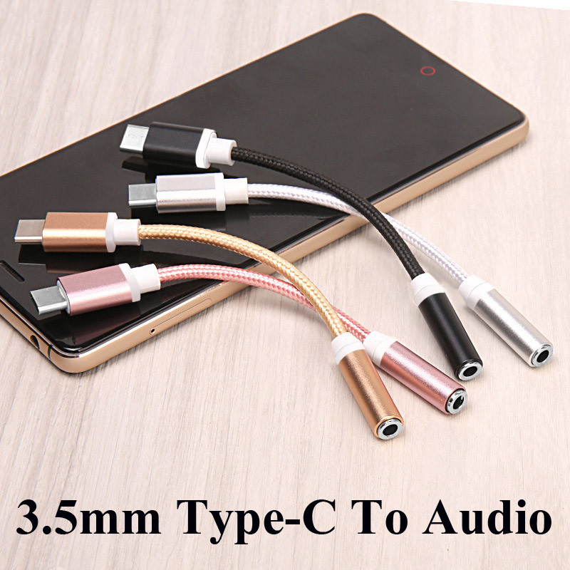 Type-C To 3.5mm Earphone AUX Audio Cable Adapter Type C To 3.5 Headphone Converter For Xiaomi 8 6 Letv 2 Pro 2 Max2 For Huawei