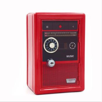 Creative Radio Design Mini Petty Cash Money Box Stainless Steel Security Lock Lockable Metal Safe Small Fit for House Decoration